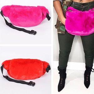 Bags - Oversized Fur Fanny Pack Hand Warmer Muff Bag HOT
